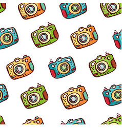 seamless pattern with hand drawn photo camera vector image