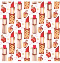 Lipstick and nail polish cosmetics pattern beauty vector