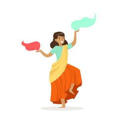 Beautiful indian woman in a colorful sari dancing vector