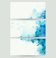 Three banners abstract headers with blue blots vector