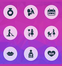 Mothers day icon design concept set of 9 such vector