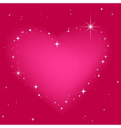 star heart in pink sky vector image