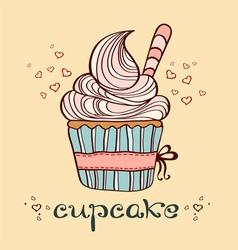 hand drawn of cupcake vector image