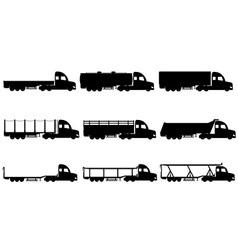 cargo trucks silhouette 03 vector image