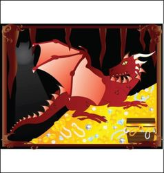 red dragon with treasure vector image