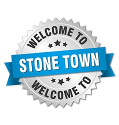 Stone town 3d silver badge with blue ribbon vector