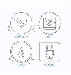 Photo social media and rocket icons vector