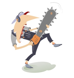 Angry man with chainsaw vector