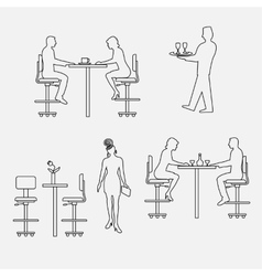 Architectural set of furniture with people vector