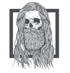 Bearded skull witch long hair vector
