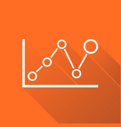Chart graph icon with long shadow business flat vector