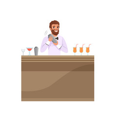 Cheerful bartender mixing a cocktail drink in vector