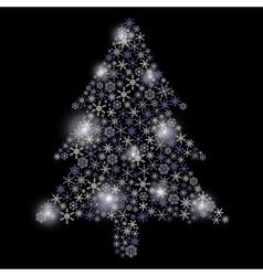 christmas tree from snowflakes eps10 vector image