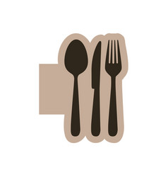 Contour emblem metal cutlery icon vector