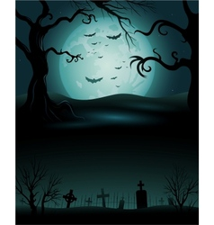 Creepy tree Halloween background with full moon vector image vector image