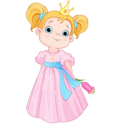 Cute Little Princess Holds Flower vector image vector image