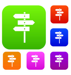 direction signs set collection vector image