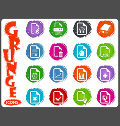 documents icons set in grunge style vector image