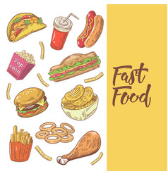 fast food hand drawn doodle with burger fries vector image vector image