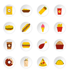fast food icons set in flat style vector image