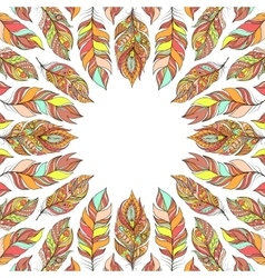 frame with abstract colorful feathers vector image