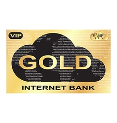 Gold plastic card with a picture of internet bank vector