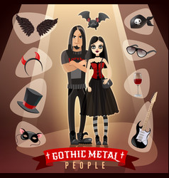 Gothic metal people subculture vector