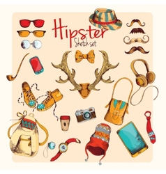 Hipster sketch set vector