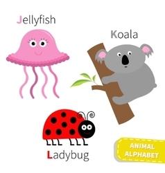 Letter j k l jellyfish koala ladybug zoo alphabet vector