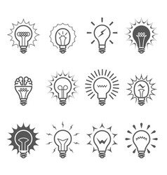 light bulb icons - idea innovation vector image vector image
