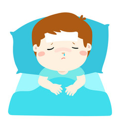 Little sick boy in bed cartoon vector
