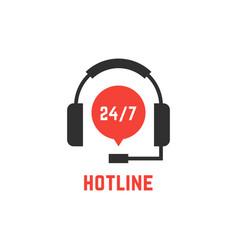 nonstop hotline support with headphones vector image vector image