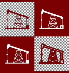 Oil drilling rig sign bordo and white vector