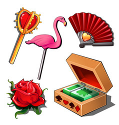 Paying cards lady fan rose flamingo and scepter vector
