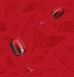 Seamless pattern drawing on a red vector