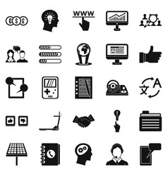 Seo interface icons set simple style vector