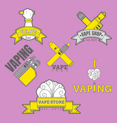 set of different vaping logotypes colored on vector image