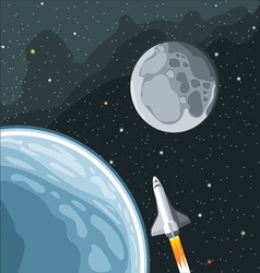 Spaceship mission to moon vector image vector image