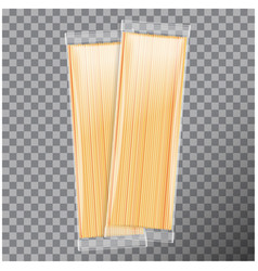 spaghetti capellini pasta transparent package vector image vector image