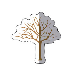 Sticker brown silhouette tree with branches vector