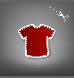 T-shirt sign red icon with for applique vector