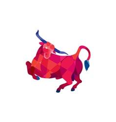 Texas longhorn bull prancing low polygon vector