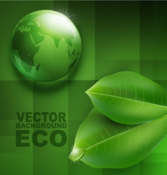 transparent green ball-globe and leaves vector image vector image