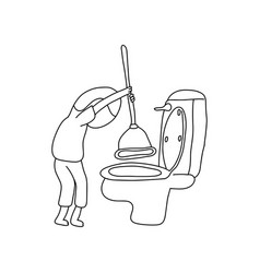 Unidentified gender person using rubber plunger vector
