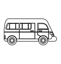 van transport vehicle urban outline vector image