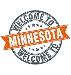 Welcome to minnesota orange round ribbon stamp vector