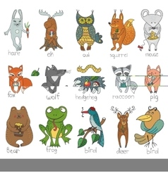 Wild animalsisolated Woodland doodle set vector image vector image