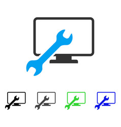 Wrench configure desktop flat icon vector