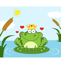 Crowned Frog Prince On A Leaf In Lake vector image