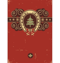 Red Christmas background with horseshoe vector image